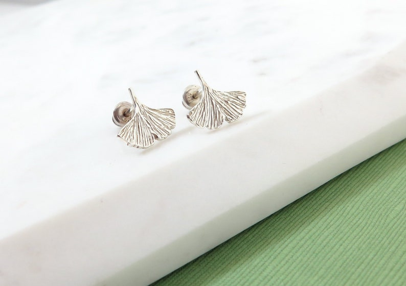 Ginkgo Leaf Stud Earrings  Small Studs Sterling Silver image 0
