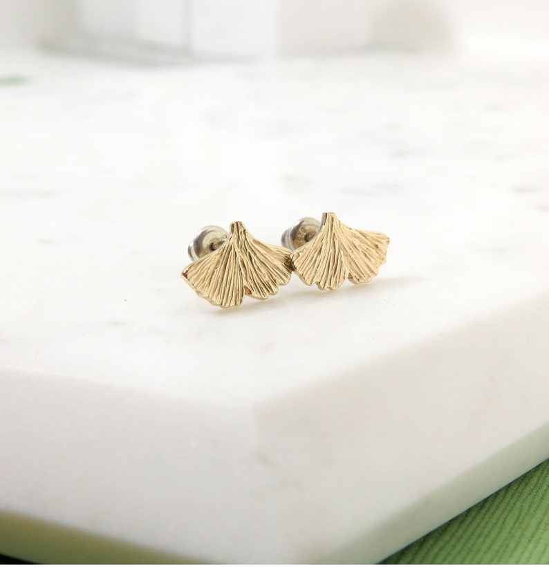 Ginkgo Leaf Stud Earrings  Small Studs 10 Karat Gold and image 0