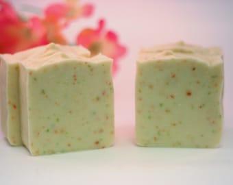 Cherry Confetti soap handmade soap lye soap cold processed soap