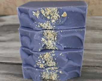 Honey Lavender Oats soap hand made cold processed made with oat milk purple bars great skin loving oils birthday gifts stocking stuffers oat