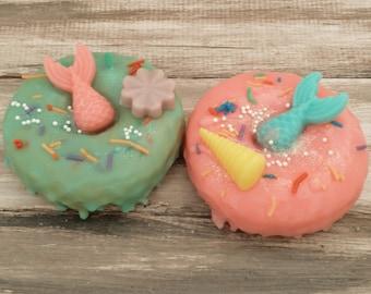 Mermaid donut soap sprinkles glitter sea shells goats milk soap