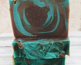 Chocolate Avocado soap made with cocoa powder and real avocado brown green cold process soap handcrafted bars soap swirl my little soap shop