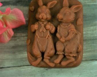 Momma & Poppa bunny Easter soap chocolate bunnies! decorative soap