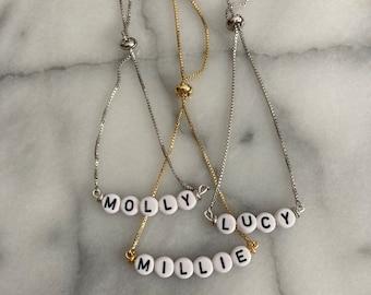 Personalized Name Bracelet - Gold Name Bracelet - Silver Name Bracelet - Customizable Name Bracelet - Mama Bracelet - Kids Names Bracelet