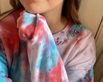 RAINBOW WATERCOLOR TieDye Crewneck Sweatshirt - Custom Tiedye Sweatshirt - Embroidered Tiedye - Crewneck - Rainbow Embroidery - Rainbow