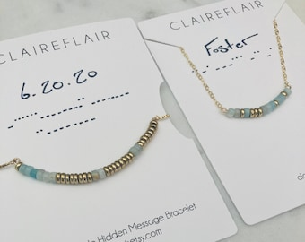 Personalized Morse Code Necklace and Bracelet Set - Personalized Wedding Jewelry Gift - Personalized New Mom Gift - Personalized Gift Set