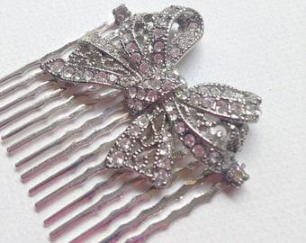 Silver Bow Vintage Crystal Bridal Wedding Headpiece, Hair Comb, Bridal Accessories  Ask a question