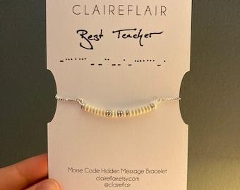 Best Teacher Morse Code White and Gold or Silver Hidden Message Bracelet