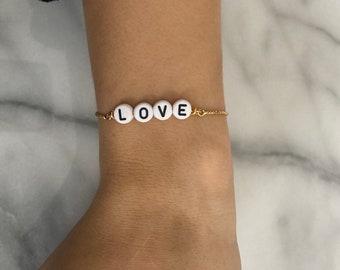 LOVE Adjustable GOLD or SILVER Bracelet - Valentines Day Bracelt - Valentines Day Gift