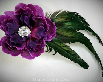 Purple Hair Flower, Wedding Hair Flower, Hair Flower Clip, Rockabilly Flower, Retro Hair Flower, Steampunk Flower, Rhinestone Hair Flower