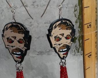 Brown Zombie  red beads guitar pick earrings