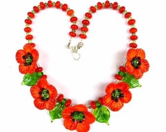 Orange Poppy Necklace by Mystic Moon Beads SRA# U5