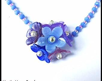 Blue Hydrangea Handmade Lampwork Flower Bud Necklace by MMB SRA # U5