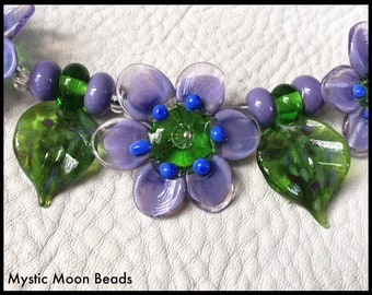 Sale**Lavender Handmade Lampwork flower bead, Daisy Flowers, set of three flowers by Mystic Moon Beads SRA U5