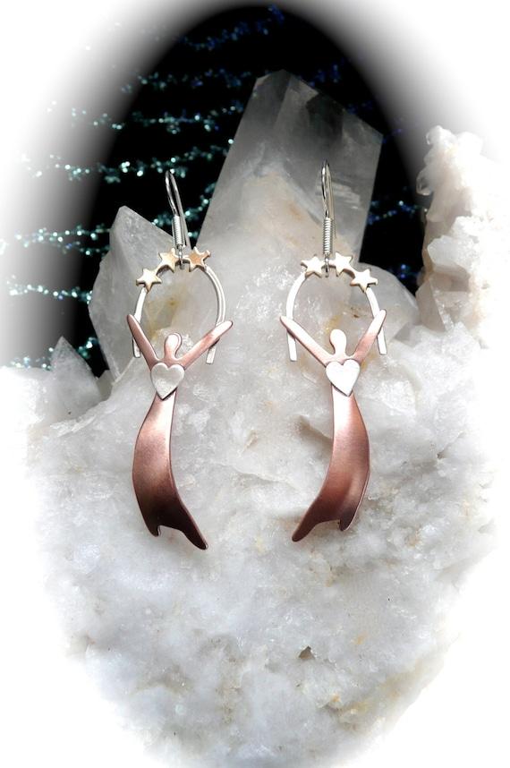 Women jewelry earrings, stars, hearts, goddess jewelry, handmade jewelry,  gift ideas ,wearable art,, spirit art jewelry, metal jewelry