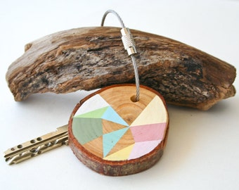 Pine wood keychain with stainless steel cable wire, tones of mint, pale pink, ivory, light blue geometric triangle shapes keyring