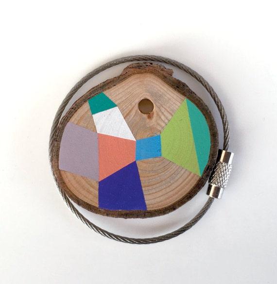 Holz-Schlüsselanhänger mit Edelstahl Kabel Draht Option plus
