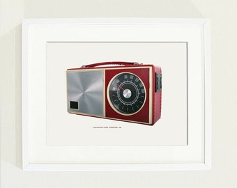 Vintage radio poster -  retro like print in warm red and silver colour with a caption - Size A4
