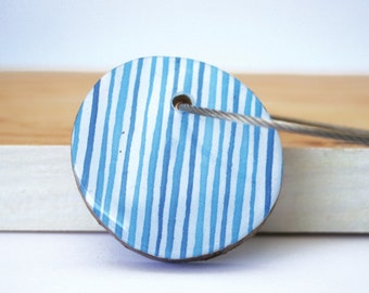 Wood resin keychain with stainless  cable wire, keyring, watercolor lines, the sea