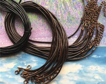 Tiny finish--15pcs 1mm 12-24 inch adjustable dark gray waxed cotton necklace cords with lobster clasp