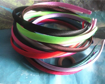 Sample 15pcs 10mm width assorted satin cover plastic hairbands findings