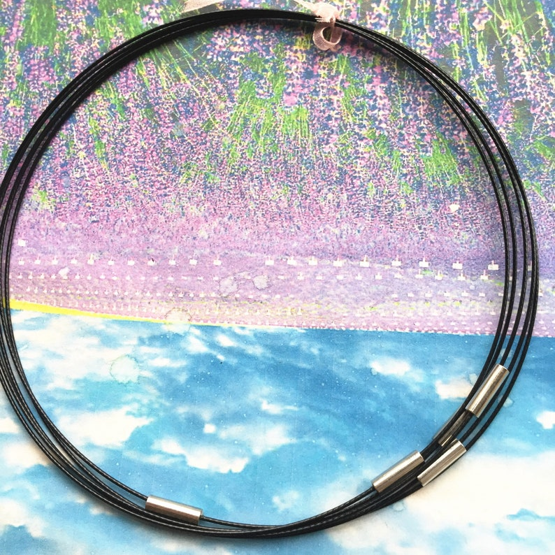 MAGNET clasps--10pcs 20 inch black 1mm thickness stainless steel round choker necklace wires