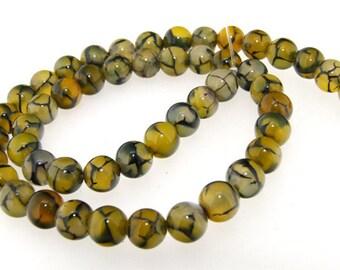 Charm Round Dragon Agate 8mm Gemstone beads Loose One strand