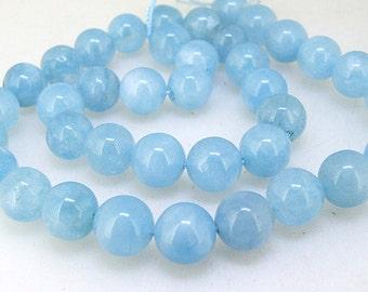 """Charm 10mm 12mm Round  Aquamarine Quartz Gemstone Beads 15"""" Full One Strand"""