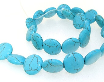 Full One Strand  Coin Turquoise 17mm Gemstone Beads  Loose Strand