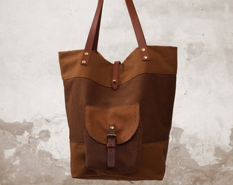 93fca074d43 Handmade shopping bag in canvas- leather, named Toulouse, copper brown bag, tote  bag,work bag
