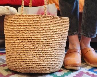 Crochet Bag Pattern (Basket Bag) Instant Digital Download