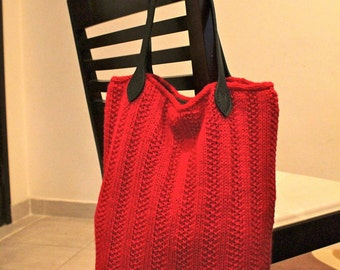Knitted Market Bag Tote Pattern - (Ribby Tote) Instant Download
