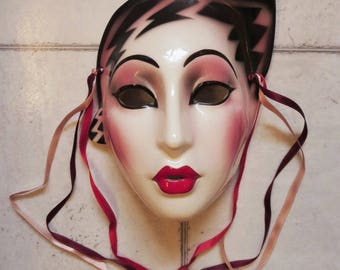 Clay Art Ceramic Face Wall Mask, Art Deco, Roaring Twenties Wall Hanging