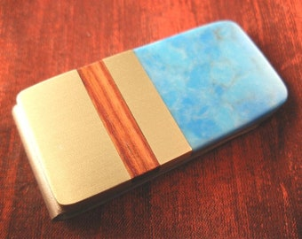 Turquoise Money Clip for Dad Gift Idea Fathers Day Gift from Wife MC642
