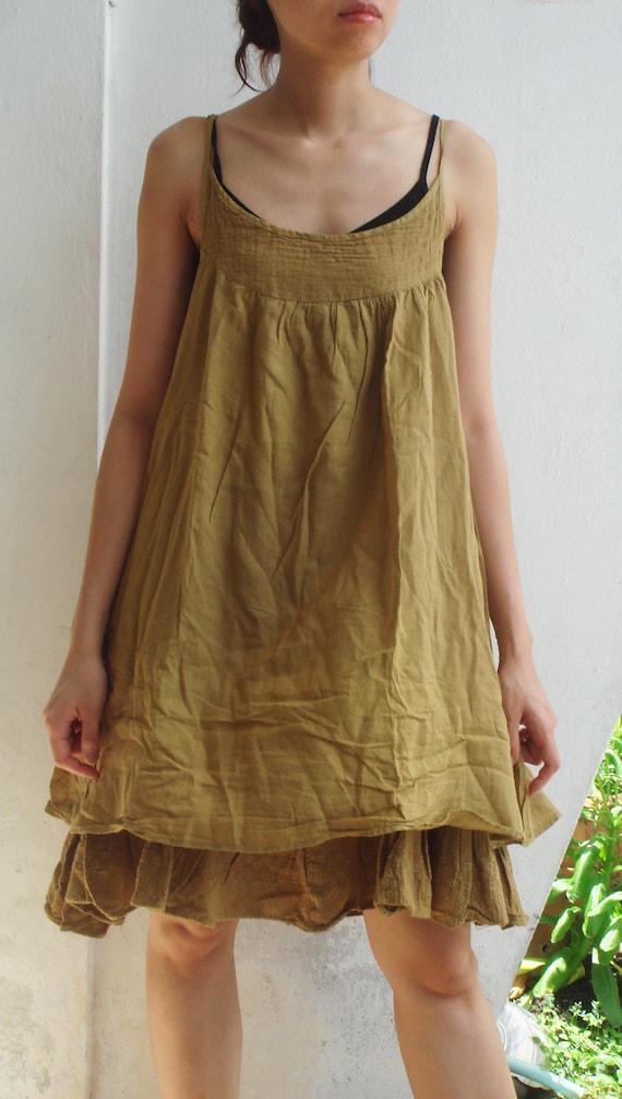 D24,Brown Butterfly Effect Cotton Dress SALE 30/%