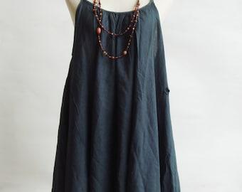 D10, Swan Dark Grey Cotton Dress, grey dress