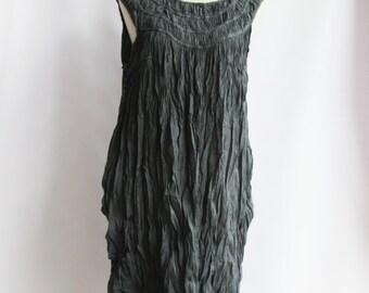D1, Evening Sky, Ruffle Sleeveless Dark Grey Cotton Dress
