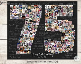 75th Birthday Gift, 75th Wedding Anniversary Gift,  75th Birthday Decoration,  Anniversary Gift for Wife, 75 Years Gift , 75 Photo Collage
