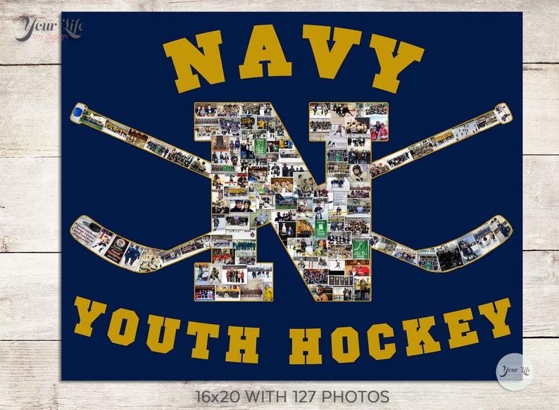 Sports Logo Photo Collage Hockey Sign HOCKEY GIFTS Photo Collage Sports Photo Collage- Any Shape Youth Hockey Photo Collage