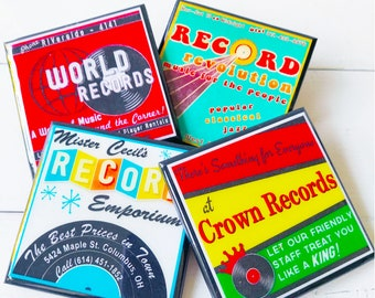 Vintage Record Store Drink Coaster Set Classic Record Shop Decor Vinyl Music Lover Gift