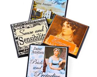 Jane Austen Book Cover Drink Coaster Set