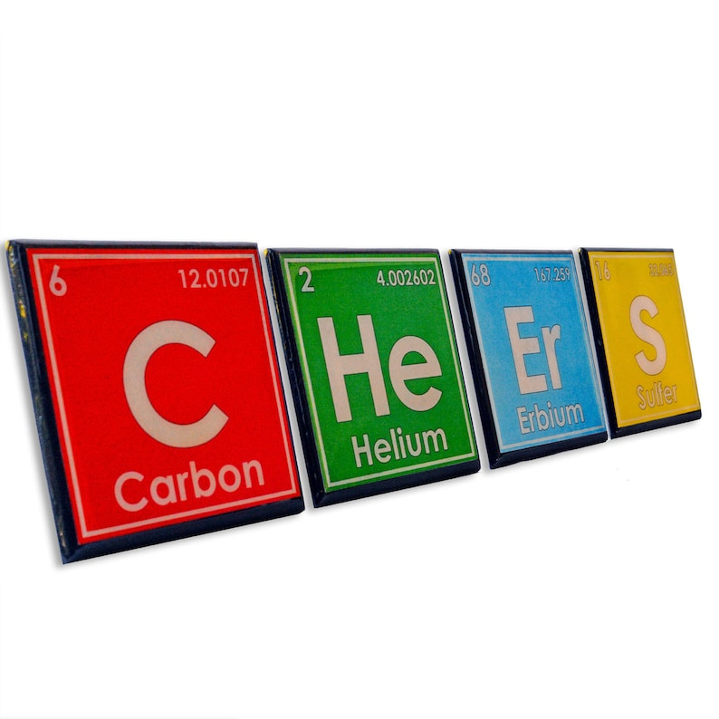 Periodic Table Drink Coaster Set Science Art Unique Chemistry image 0