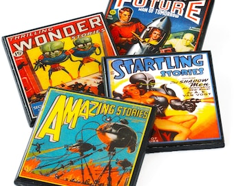 Retro Science Fiction Drink Coasters, Pulp Sci Fi Magazine Cover Wood Coaster Set of Four