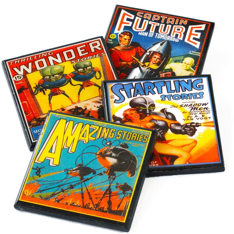 Pulp Sci Fi Magazine Cover Wood Coaster Set of Four Retro Science Fiction Drink Coasters
