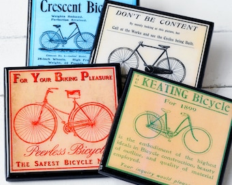 Bicycle Coaster Set, Vintage Bike Art Drink Coasters, Cycling Gift, Wood Coaster Set of Four, Man Cave Decor, Hostess Gift, Sports Decor