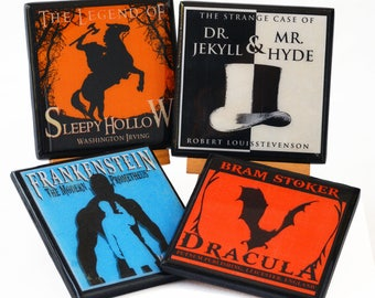 Halloween Coaster Set, Classic Victorian Gothic Horror Novel, Wood Coasters, Halloween Decor, Party Favor, Hostess Gift, Dracula, Set of 4