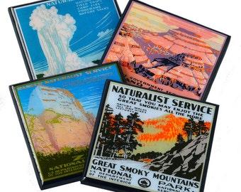 National Park drink coaster set, WPA coasters, grand canyon, Yellowstone, Zion, travel decor, hostess gift, wood coasters, travel gifts