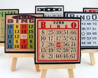 Drink Coaster Set, Bingo Card Coasters, Set of Six, Wood Coasters, Game Room Decor, Colorful Bar Coasters, Hostess Gift, Vintage Bingo Card