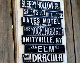 Halloween Decoration Subway Art Sign, Wood Sign, Fall Decor, Haunted House Decor, Halloween Sign, Halloween Party, Hostess Gift, Spooky Sign