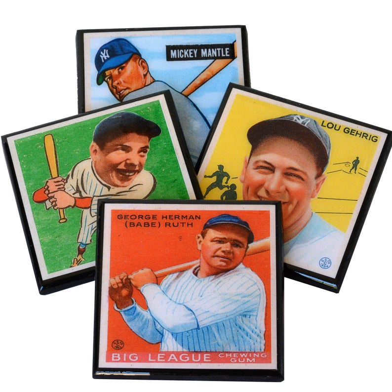 New York Yankee Coaster Set Baseball Card Coasters Yankee Mlb Hall Of Fame Wood Drink Coasters Sports Decor Man Cave Fathers Day Gift